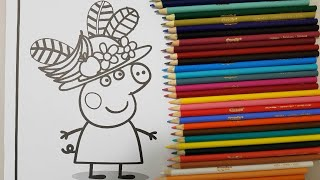 learn colors peppa pig fruits hat coloring for kids crayola colored pencils unboxing toys surprise