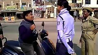 Lady traffic police officer being strict and showing no mercy in Odisha