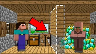 Minecraft NOOB vs PRO: WHY VILLAGER HIDING TREASURE BEHIND SECRET WALL Challenge 100% trolling