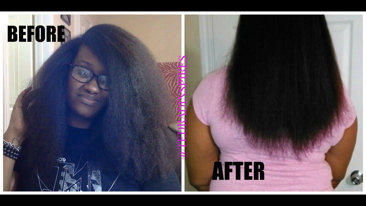 FLAT IRONING NATURAL HAIR || TRIMMING || SILK WRAP - YouTube