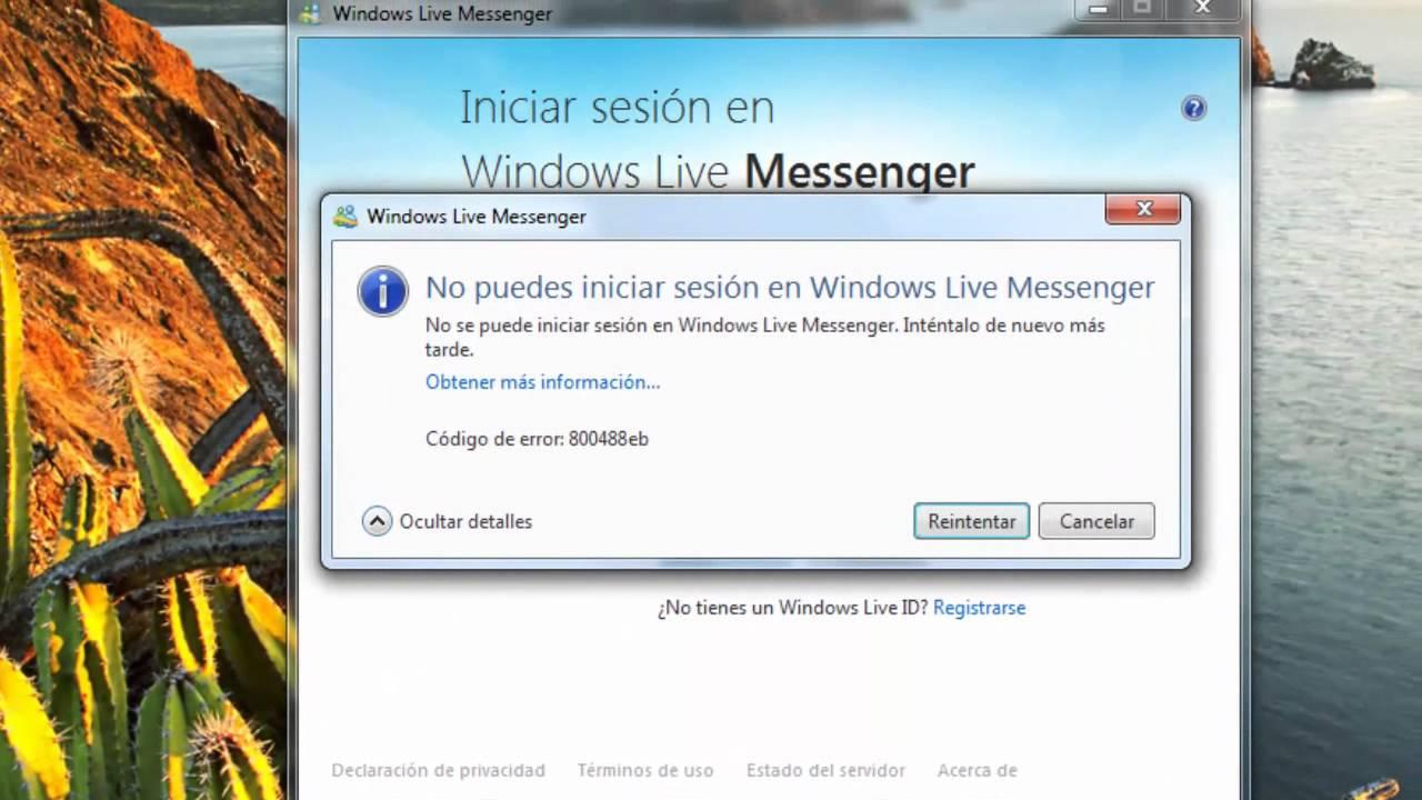 solución error 800488eb inicio de sesión en windows live messenger