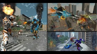 Flying Robot Car Transform Russian Plane City Wars | Android Gameplay