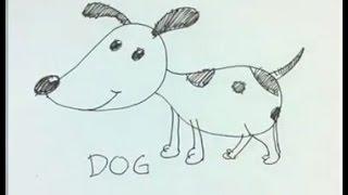 Einfache Cartoon-Zeichnung : Wie zeichnet man eine Comic-Hund