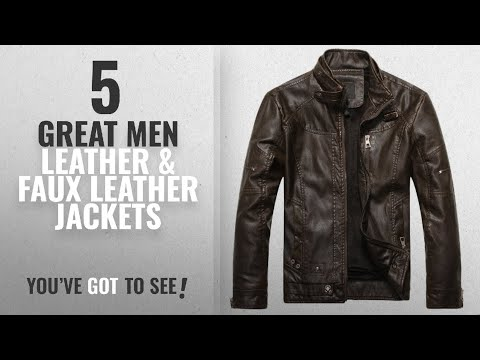 Top 10 Mens Leather & Faux Leather Jackets [ Winter 2018 ]: Chouyatou Men's Vintage Stand Collar Pu