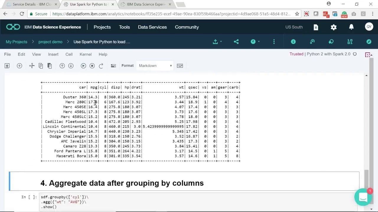 Use Spark for Python to load data and run SQL queries in IBM DSX
