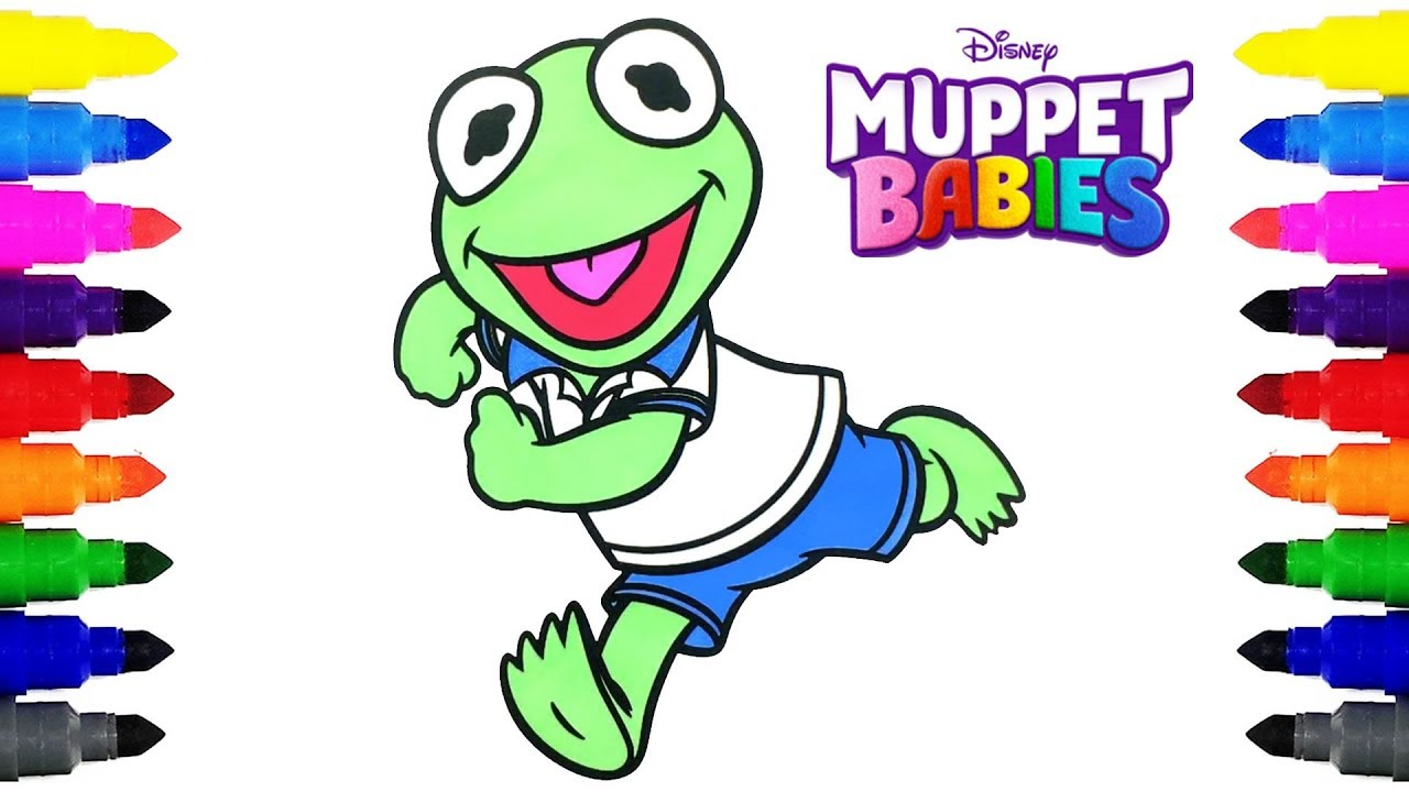 muppet babies kermit the frog disney jr coloring pages coloring