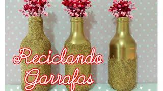 Decorando garrafas com areia para o natal – Artesanato Viviane Magalhães