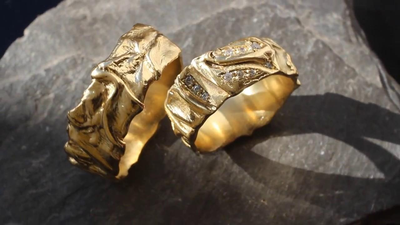 Extravagante gehmmerte Eheringe aus Gelbgold mit Diamanten  YouTube
