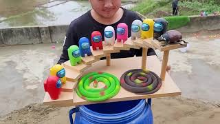 Coca Cola, Different Fanta, Mtn Dew, Pepsi,Sprite Toy snake vs Mentos in Big Underground | Among Us