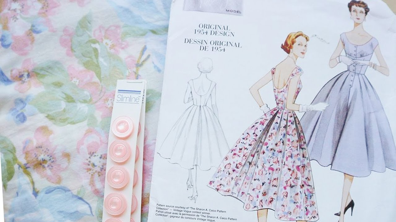 fd9bc264a00 1950 s Floral dress   Following V2960   Pattern Review   Vlog - YouTube