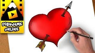 como dibujar y pintar un corazon atravesado por una flecha | how to draw a heart