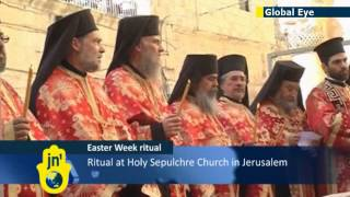 Jerusalem Marks Easter Holiday: Greek Orthodox Patriarch washes clergymen's feet for Easter