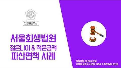 서울회생법원 젊은나이&적은금액 파산면책 실제사례