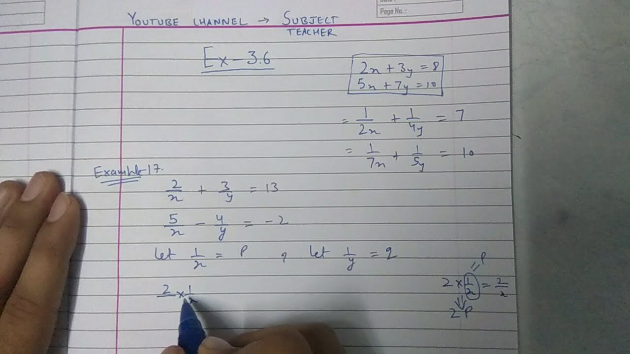 Chapter 3 exercise 3.6 Q1 (all parts) pair of linear equations maths ...
