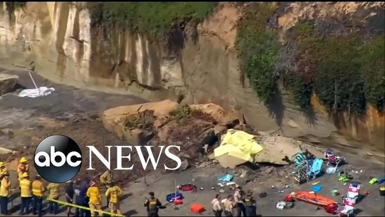 3 killed, 3 injured when beach bluff collapses