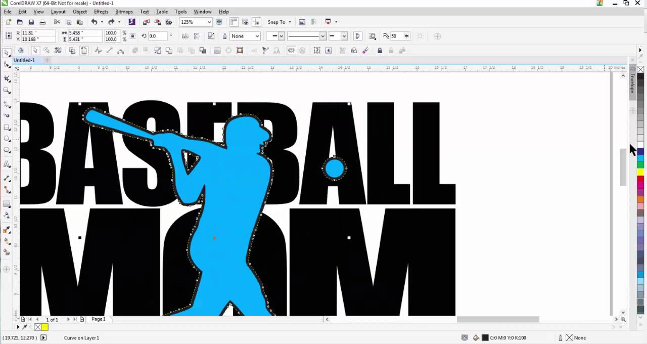 575a50fd How to create a Baseball Mom Shirt and Decal Design in CorelDRAW ...