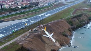 Footage shows plane stuck on cliff edge after skidding off runway in Turkey thumbnail