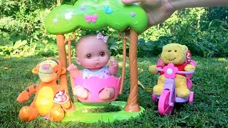 Twin Babies Baby Dolls Lil Cutesies Doll Swing Playing at The Park Winnie Pooh Tigger Toy Video
