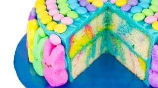 Marbled Easter Cake with Rabbit Peeps and Easter M&M's from Cookies Cupcakes and Cardio