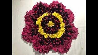 5 मिनट में पुराने कपड़ो से बनाए flower door mat / table mat