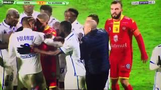 Altercation entre Polomat et son coéquipier Barreto / Quevilly - Auxerre 16/03/2018