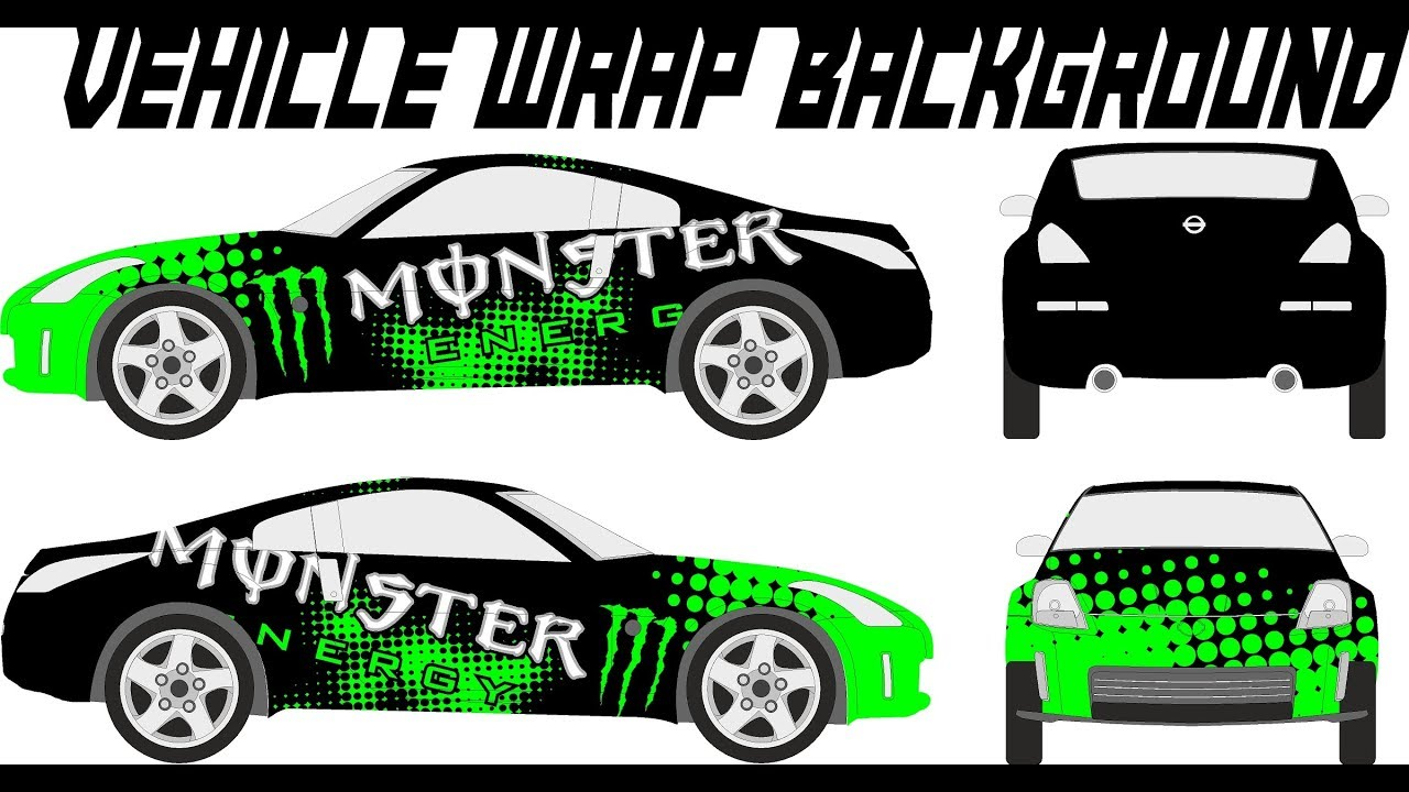 Designing Vehicle Wrap In Real Time Monster Energy Drink Drift Car