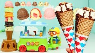 뽀로로 아이스크림 자동차 장난감 블럭쌓기 게임 카페놀이 Pororo Ice cream Car Toys Building Game