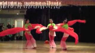 "Chinese Red Ribbon Fan Dance ""Snow and Fire"" by San Diego"