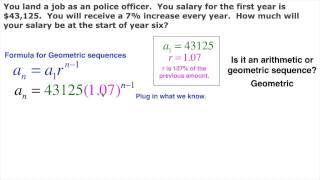 Geometric sequence real life salary