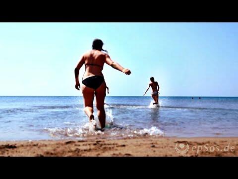 Funny Bikini Women on Zakinthos Beach of Greece