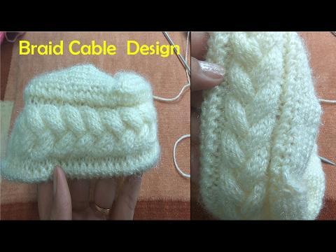 b3f8efe2b8e Braid Cable Design in Hindi Knitting (चुटिया केबल बुनाई में)