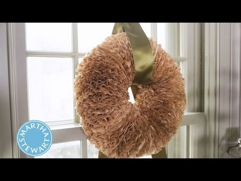 craft a holiday wreath with coffee filters martha stewart youtube. Black Bedroom Furniture Sets. Home Design Ideas