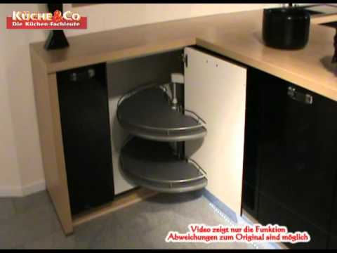 DYK360 Eckunterschrank mit Drehböden 129 cm.wmv - YouTube | {Kücheneckschrank 80x80 58}
