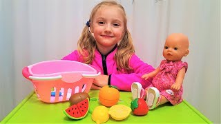 Learn Fruits with Funny Baby and Baby Doll