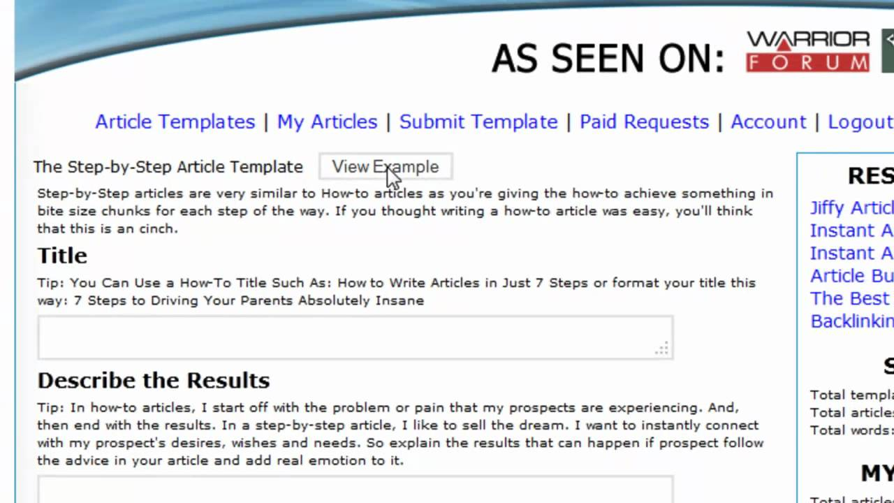 ArticleCinch Article Template Article Writing Software For - Content creation template
