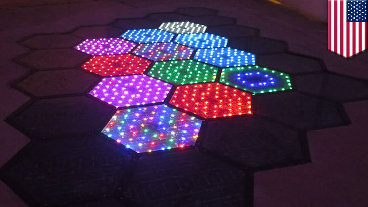 Solar Powered Road Panels Light Up The Streets Display