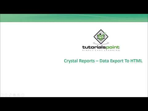 SAP Crystal Reports - Data Export To HTML