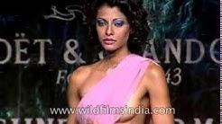 Indian women model sarees and designerwear at a Suneet Verma fashion show