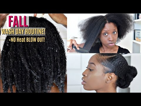3 inch HAIR GROWTH UPDATE | Fall Wash Day Routine + Heatless Blow Out Start To Finish