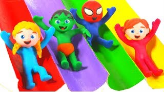 SUPERHERO BABIES HAVING FUN WITH GIANT SLIDES RAINBOW COLORS ❤ SUPERHERO PLAY DOH CARTOONS FOR KIDS
