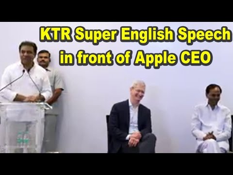 Minister KTR Super English Speech in front of Apple CEO (22-05-2016)
