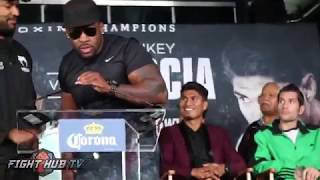 Baby Miller & Gerald Washington go at it at the presser
