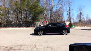 BTR Tuned With Solo Exhaust Veloster Turbo Doing a BURNOUT by The Adventure  Auto