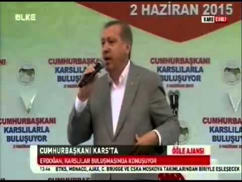 Cumhurbaskani Recep Tayyip Erdogan Karsta halka hitap ediyor