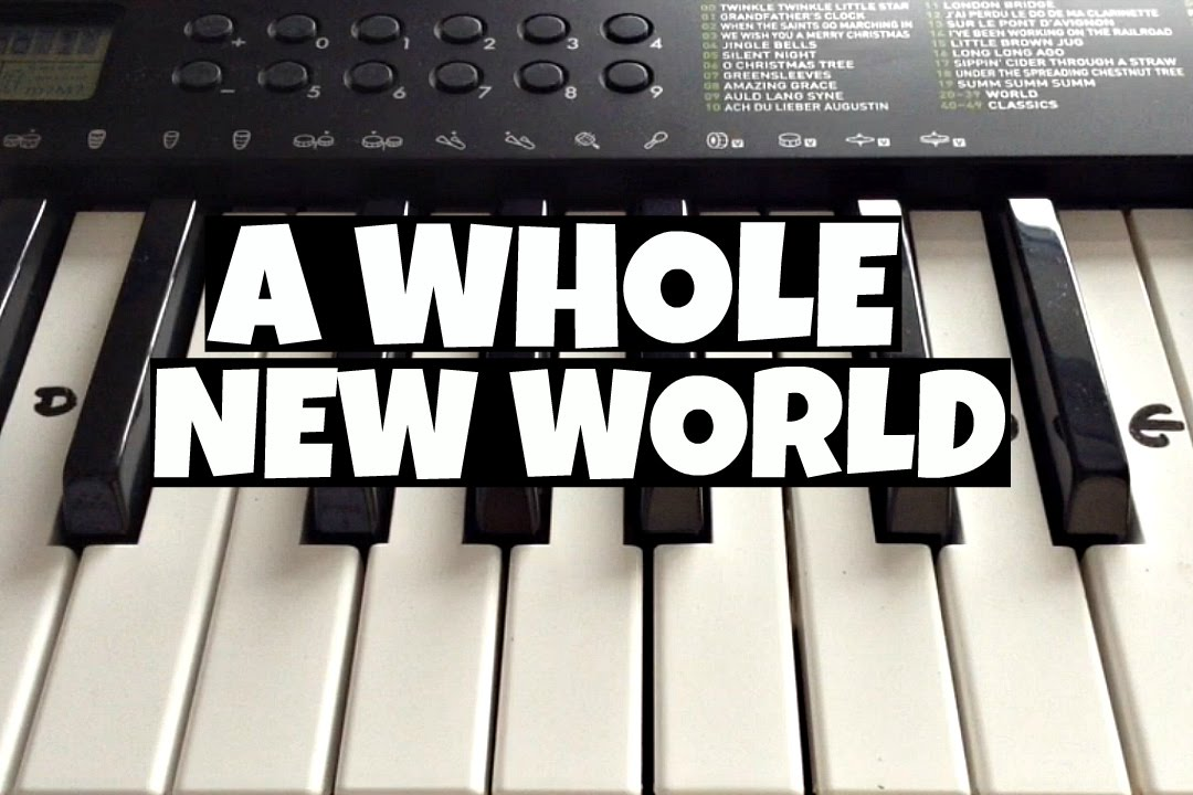 a whole new world disney s aladdin easy keyboard tutorial with notes right hand youtube