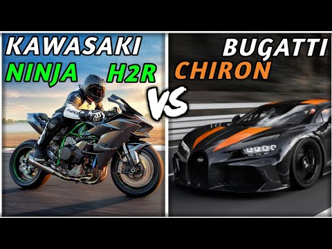 Bugatti Chiron vs Kawasaki ninja h2r!| Acceleration top speed sounds comparison statistics