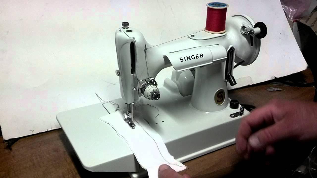 White Vintage 1964 Singer 221k Featherweight Sewing ...