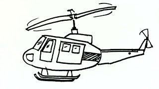 How to draw a Helicopter or Chopper- in easy steps for children. beginners