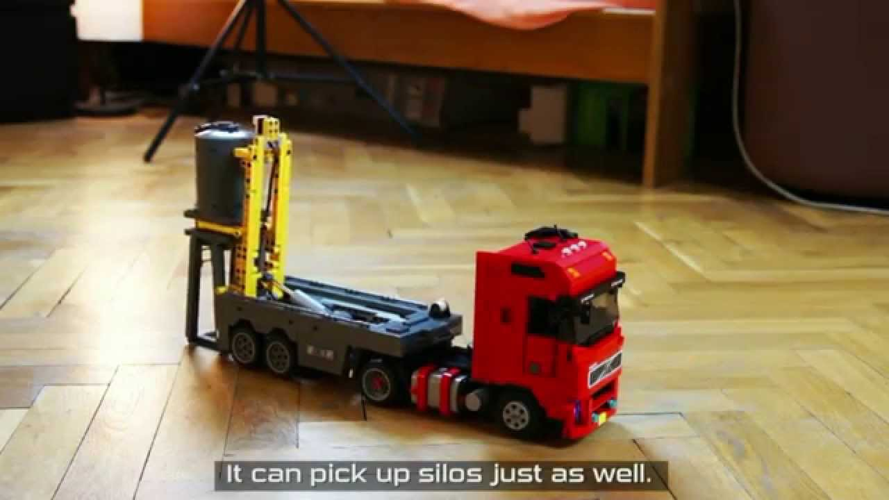 lego technic motorized volvo fh12 truck with a silo placing trailer youtube. Black Bedroom Furniture Sets. Home Design Ideas