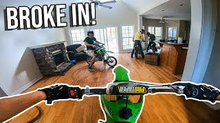 PITBIKES RACE INSIDE ABANDONED HOUSE! *FIRE ALARMS WENT OFF*